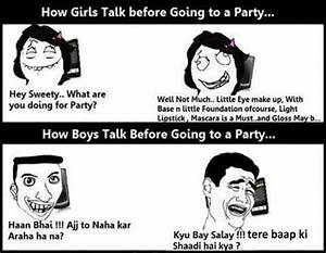 Before Going to Party–Funny Girls vs Boys Jokes Pics