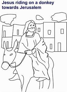 Jesus Riding On Donkey Coloring Page For Kids