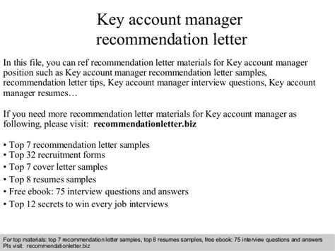 Account Manager Questions by Key Account Manager Recommendation Letter