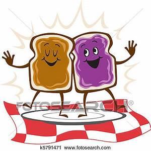 Clipart of Peanut Butter Jelly Sandwich k5791471 - Search ...