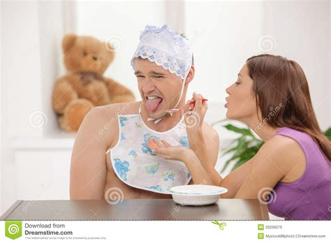 Big Baby Eating Stock Image Image Of Adult Down