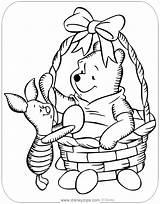 Easter Coloring Pooh Pages Disney Piglet Basket Printable Disneyclips Pdf sketch template
