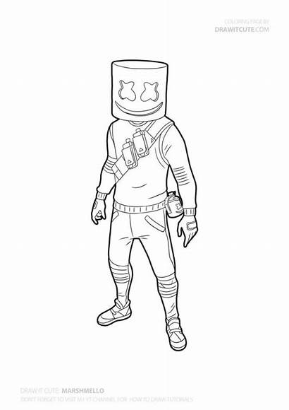 Fortnite Marshmello Coloring Draw Easy Drawing Skin