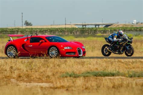 But you have to remember the lamborghinis carbon fiber body. Kawasaki Ninja H2r vs Bugatti Veyron Drag Race 2016 Lamborghini Aventa...   Bugatti veyron ...