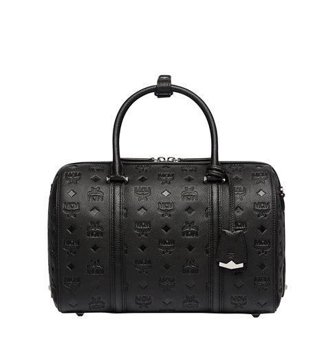 mcm essential boston  monogram leather  black lyst