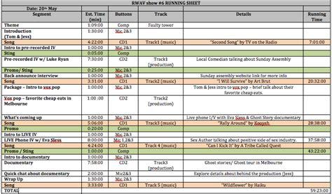 preparing  audio visual event run sheet rtr productions