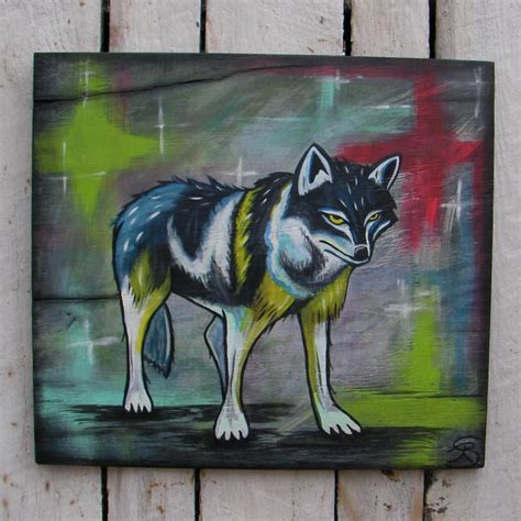 primitive native american folk art wolf painting southwest