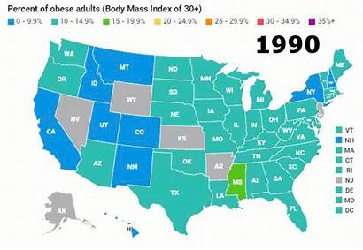 Obesity State Levels 1990 America Usa Obese