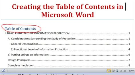 creating  table  contents  microsoft word   youtube