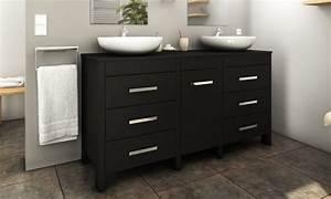 Meuble Double Vasque 150 Cm : meuble de salle de bain 150 cm avec double vasque groupon ~ Teatrodelosmanantiales.com Idées de Décoration