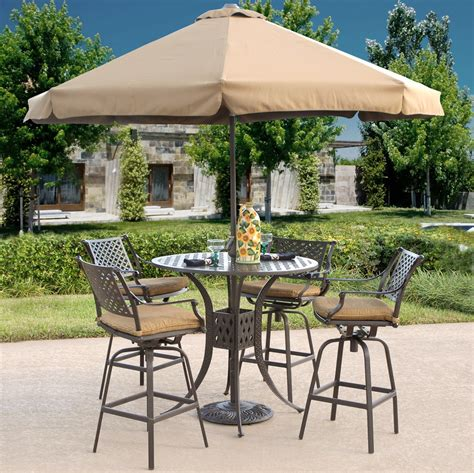 charleston outdoor patio bar height dining set tubs