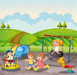 Kids Playing On A Playground Clipart - ClipartXtras