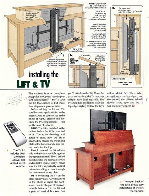 tv lift cabinet plans woodarchivist