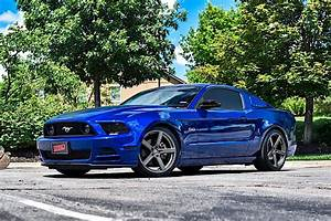 Ford Mustang S197 Blue with American Racing AR920 Blockhead Aftermarket Wheels   Wheel Front