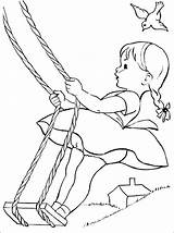 Coloring Swing Fun Rope Sommer Embroidery Limb Patterns Printable Sheets Kleurplaten Summer Little Tree These 1coloring Malbuch sketch template