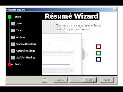 creating  resume   wizard  microsoft word youtube