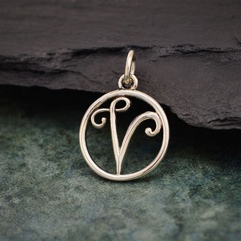 sterling silver cursive initial charm letter  xmm product details nina designs