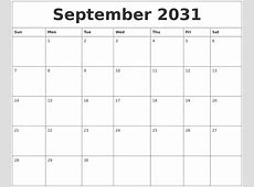 May 2031 Calendar Print Out