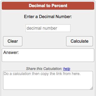 decimal  percent calculator
