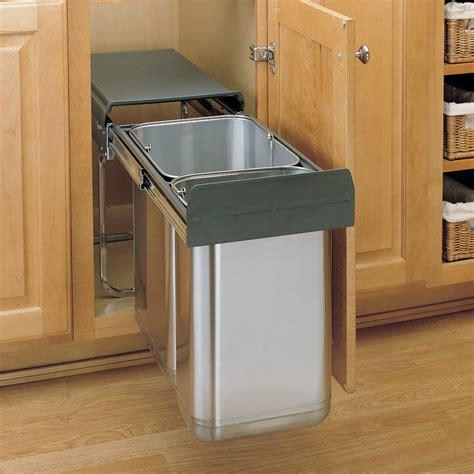 kitchen trash cabinet rev a shelf premium pull out trash bin system 30 3386