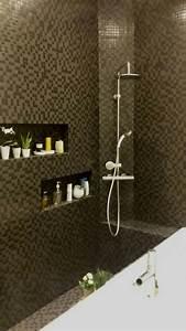mosaique noire salle de bain niche cdecojpgjpeg c deco With mosaique noire salle de bain