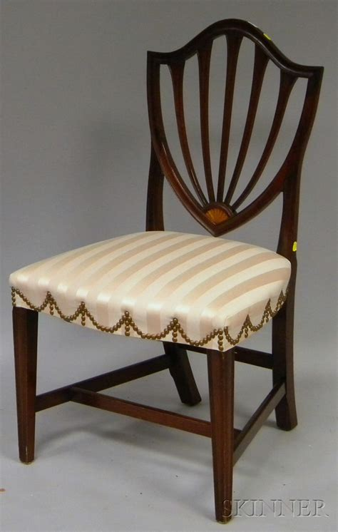 federal style striped damask upholstered inlaid mahogany
