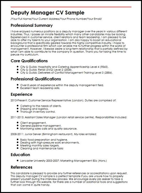 Deputy Program Manager Resume Exle by Deputy Manager Cv Sle Myperfectcv