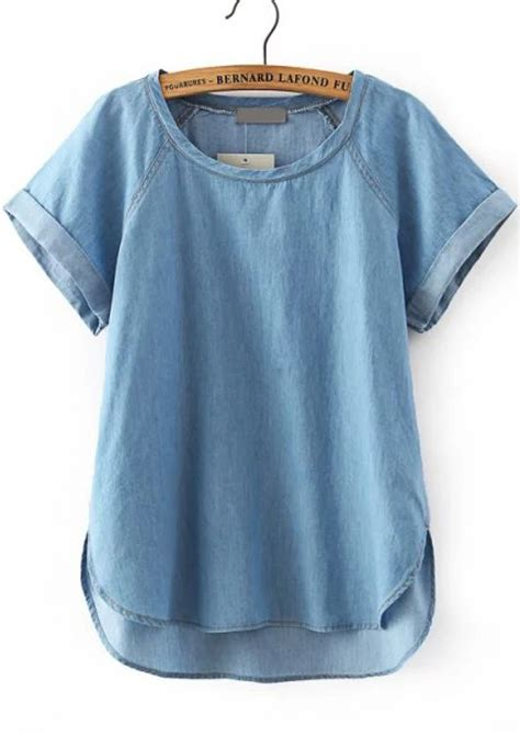 blue blouse blue sleeve dip hem denim blouse abaday com