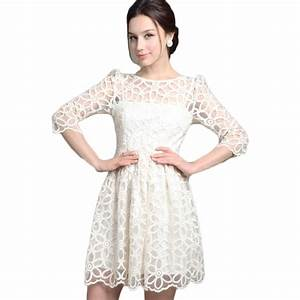 2016 spring summer fashion elegant women white lace dress With wedding party dresses for women