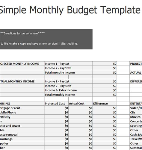 simple monthly budget sheet template haven