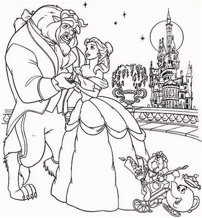 Beast Coloring Beauty Pages Belle Disney Printable