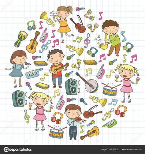 Music School For Kids Vector Illustration Children Singing Songs, Playing Musical Instruments