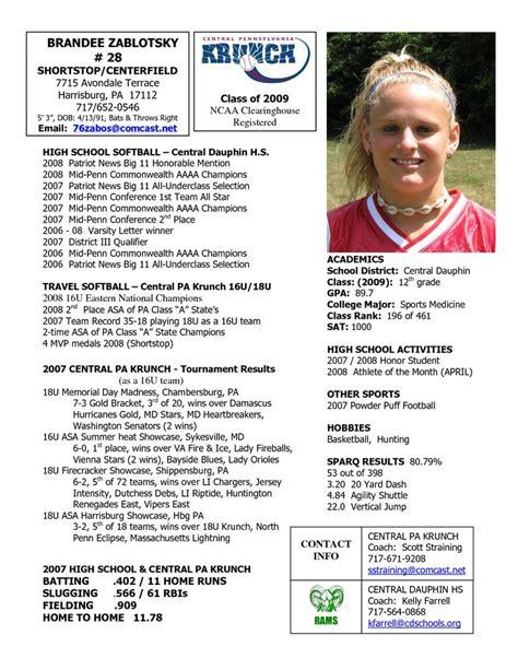 softball player profile template softball profile sle player profile central pennsylvania krunch softball softball