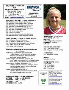 Softball profile sample player profile central for Sports profile template