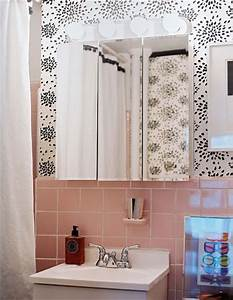 1000 images about 1940s salmon tile bathroom ideas on With what kind of paint to use on kitchen cabinets for large inexpensive wall art