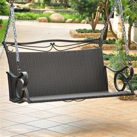 Loveseat Swing Outdoor by International Caravan Valencia Resin Wicker Steel Loveseat