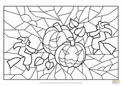 Halloween Coloring Stained Glass Pumpkins Witches Colorear
