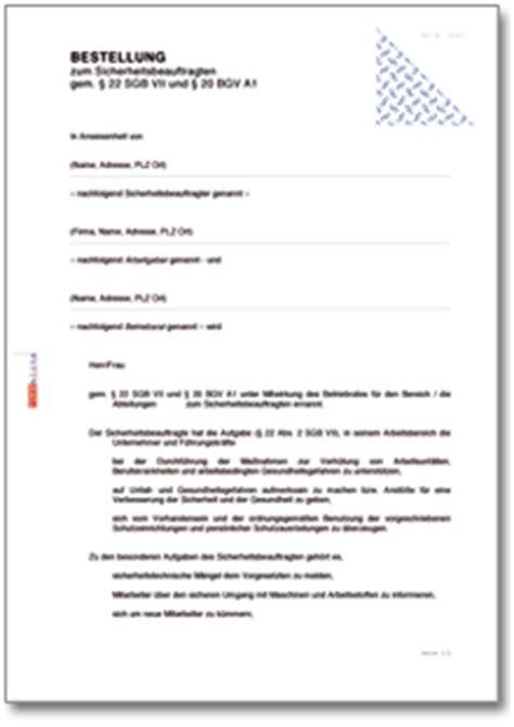 bestellung zum sicherheitsbeauftragten de vorlage