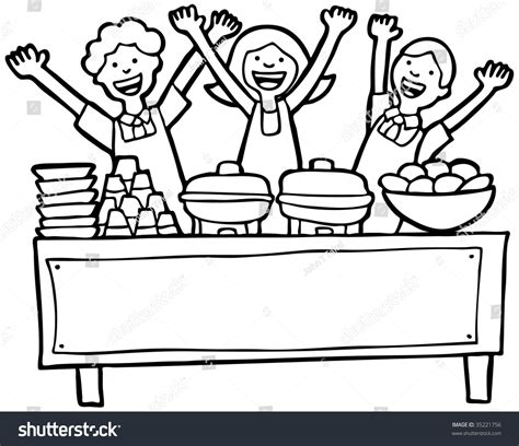 buffet service table  art stock vector