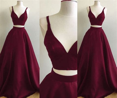 burgundy  piece prom dresses straps sleeveless puffy