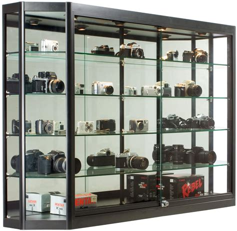 sliding door display cabinet 5x3 wall mounted display case w mirror back sliding doors