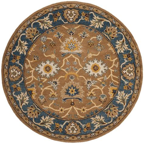 Blue Round Rugs 6 Feet by Safavieh Heritage Camel Blue 6 Ft X 6 Ft Round Area Rug