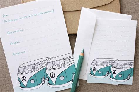 Retro Kombi Invitation Set 10 Pack Turquoise vintage