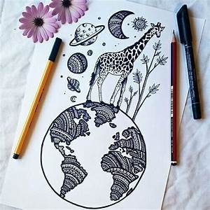 Cool giraffe/planet drawing :) | Art | Pinterest | Planet ...