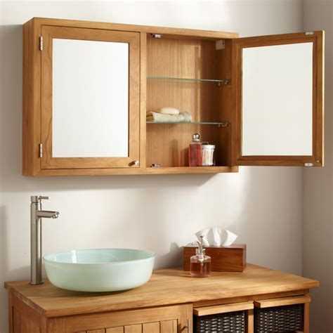 teak and oak Bathroom furniture  mirrors.
