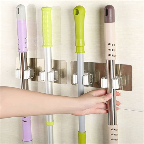 wall mounted kitchen storage rack wall mounted mop organizer holder brush broom hanger 8880
