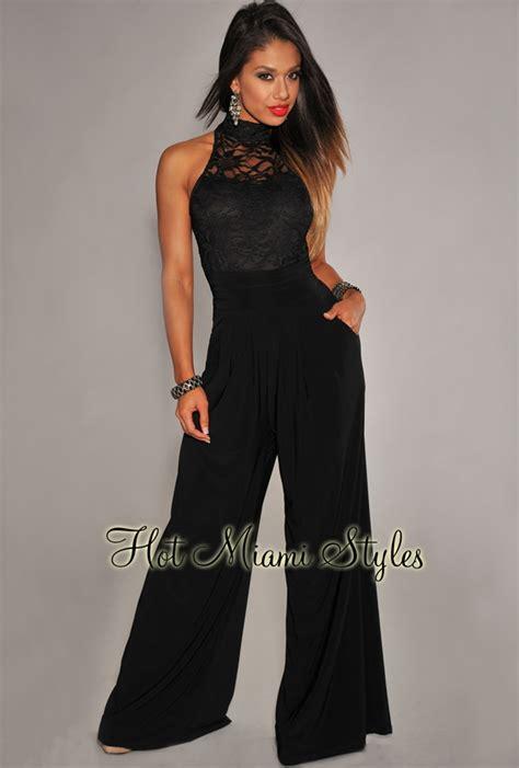 black wide leg jumpsuit black lace wide leg jumpsuit