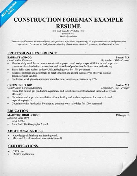 Building Construction Supervisor Resume by Construction Foreman Sle Resume Resumecompanion