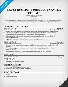 construction foreman sample resume resumecompanioncom With construction resume