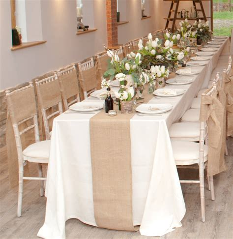 habillage chaise mariage hessian burlap table runner 2m by the wedding of my dreams